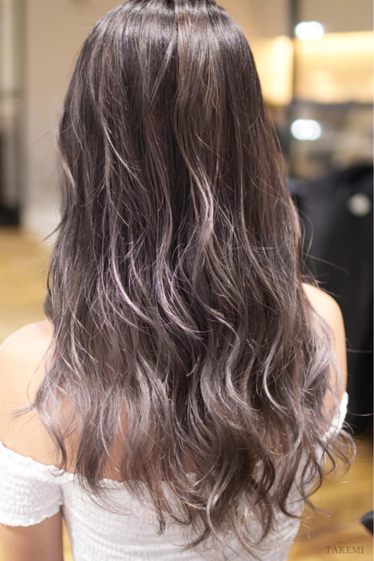 ガーリー ハイライト バレイヤージュ セミロング ヘアスタイルや髪型の写真・画像