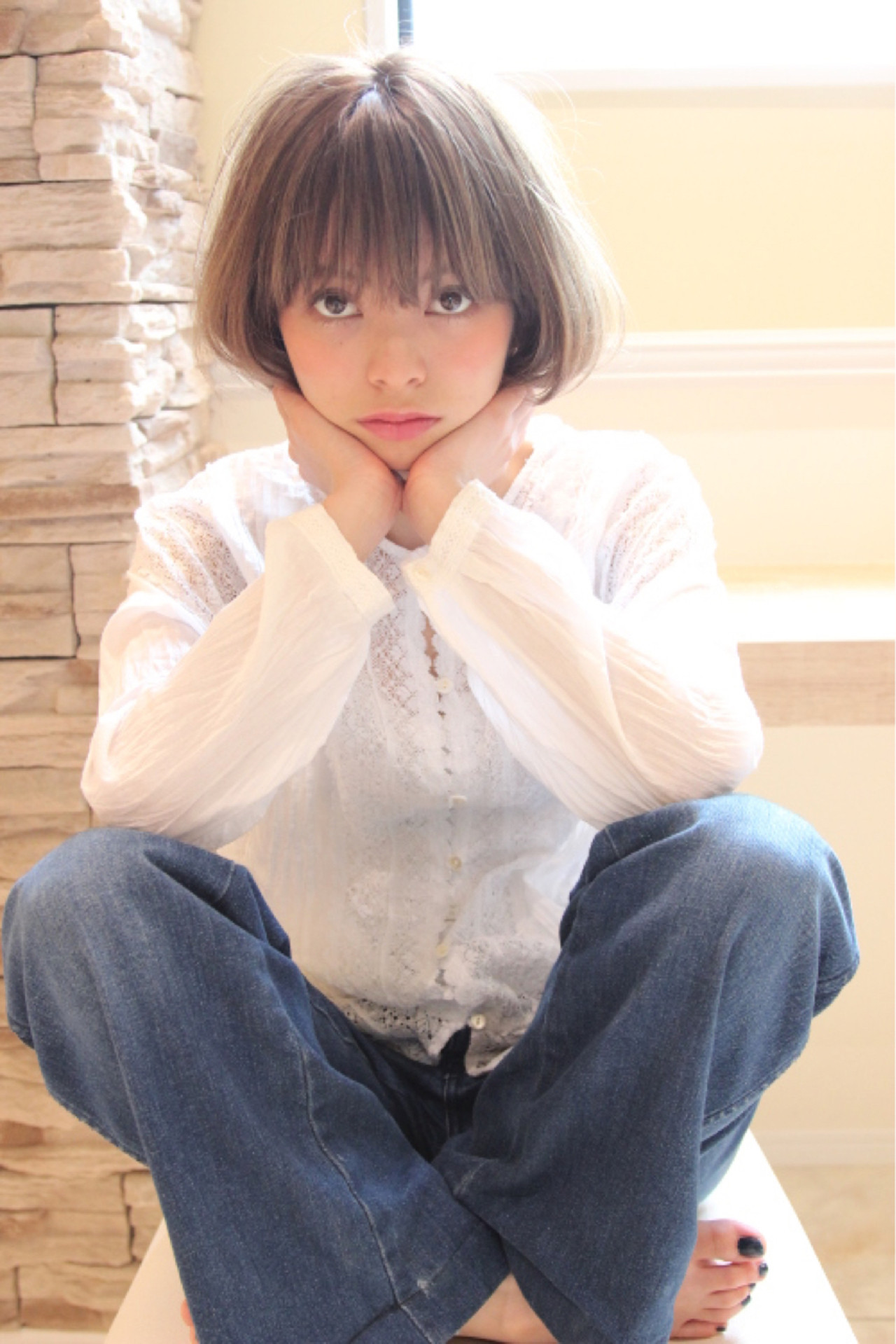 アッシュ グラデーションカラー フェミニン 大人かわいい ヘアスタイルや髪型の写真・画像