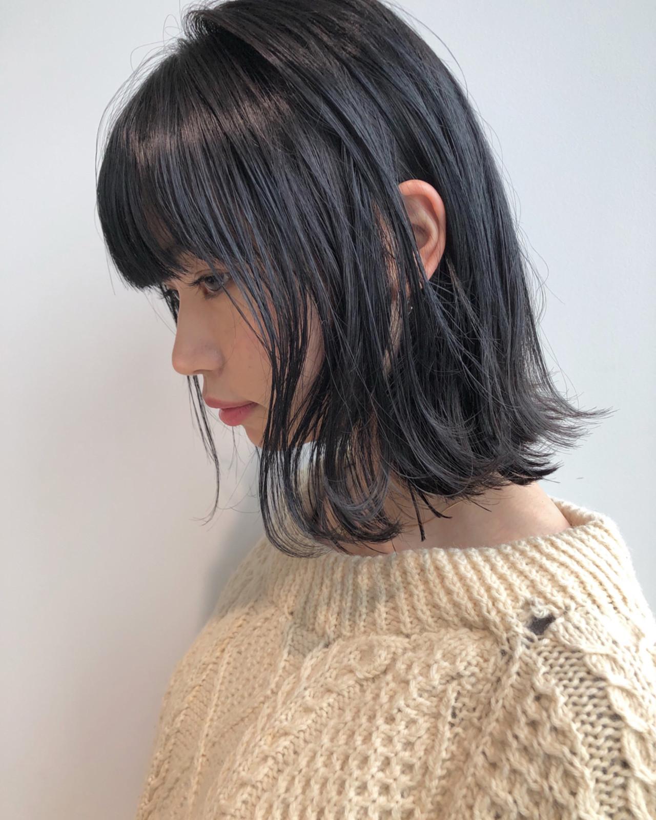 黒髪 ナチュラル シースルーバング オン眉 ヘアスタイルや髪型の写真・画像