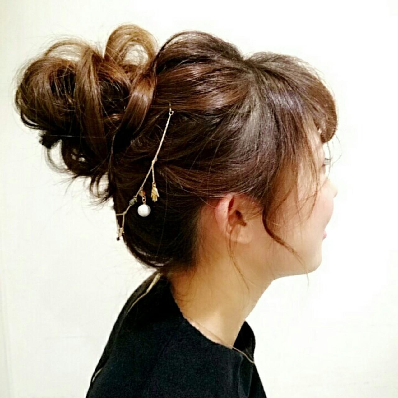 お団子 ショート 簡単ヘアアレンジ ゆるふわ ヘアスタイルや髪型の写真・画像 | まりえ / 花やの前の美容室