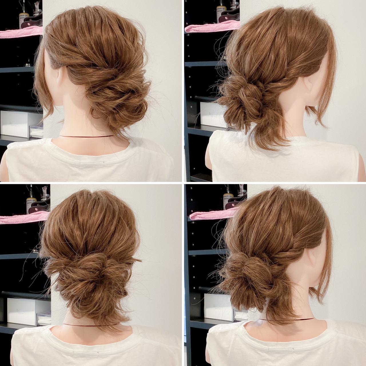 ロング ヘアアレンジ くるりんぱ フェミニン ヘアスタイルや髪型の写真・画像