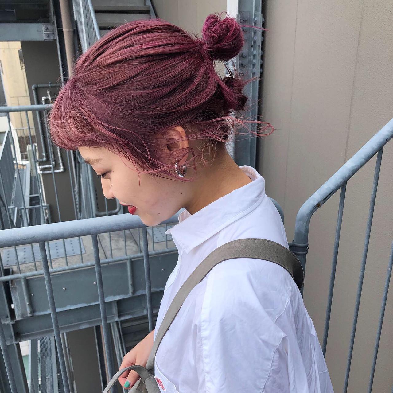 ラズベリーピンク ガーリー ラズベリー ベリーピンク ヘアスタイルや髪型の写真・画像
