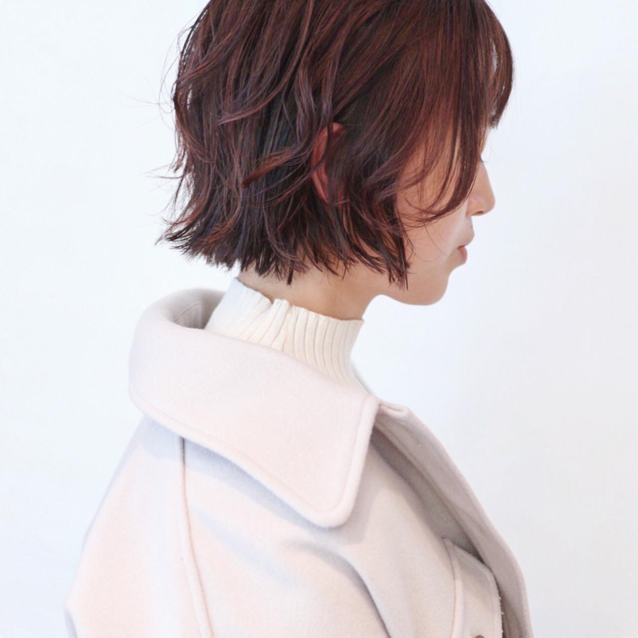 ボブ パーマ ピンク ラベンダーピンク ヘアスタイルや髪型の写真・画像