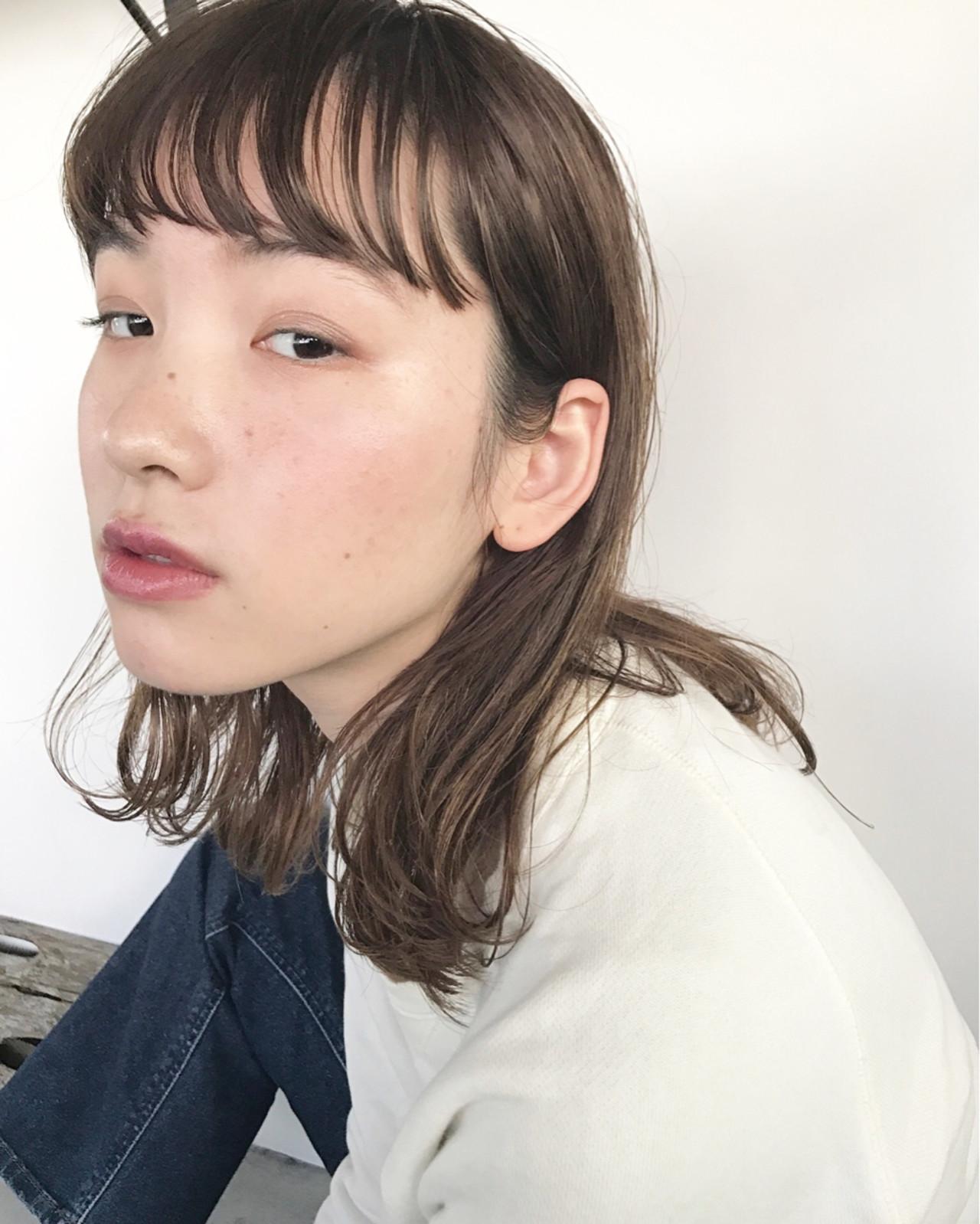 ミディアム フリンジバング 大人女子 パーマ ヘアスタイルや髪型の写真・画像 | UEKI/nanuk / nanuk二子玉川
