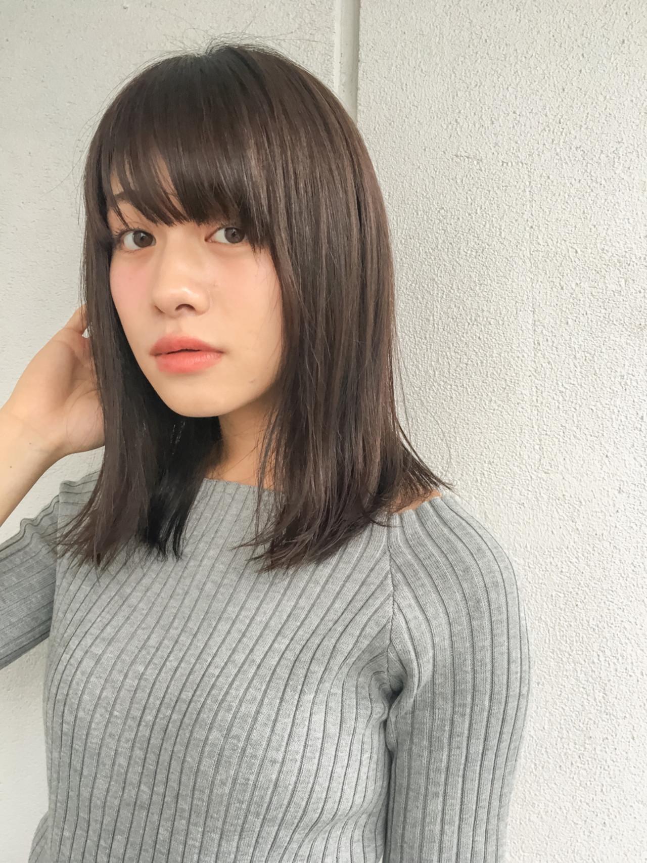 ミディアム 黒髪 暗髪 冬 ヘアスタイルや髪型の写真・画像