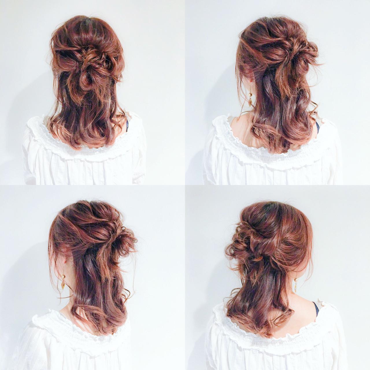 簡単ヘアアレンジ ハーフアップ フェミニン 外国人風 ヘアスタイルや髪型の写真・画像 | 美容師HIRO/Amoute代表 / Amoute/アムティ