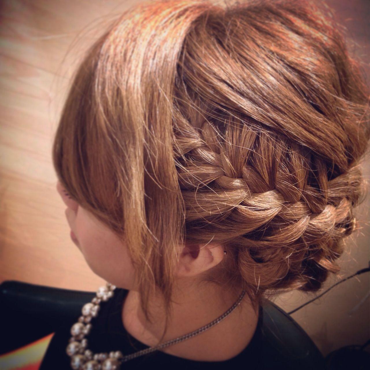 コンサバ パーティ まとめ髪 編み込み ヘアスタイルや髪型の写真・画像   朝木 恵 / muku