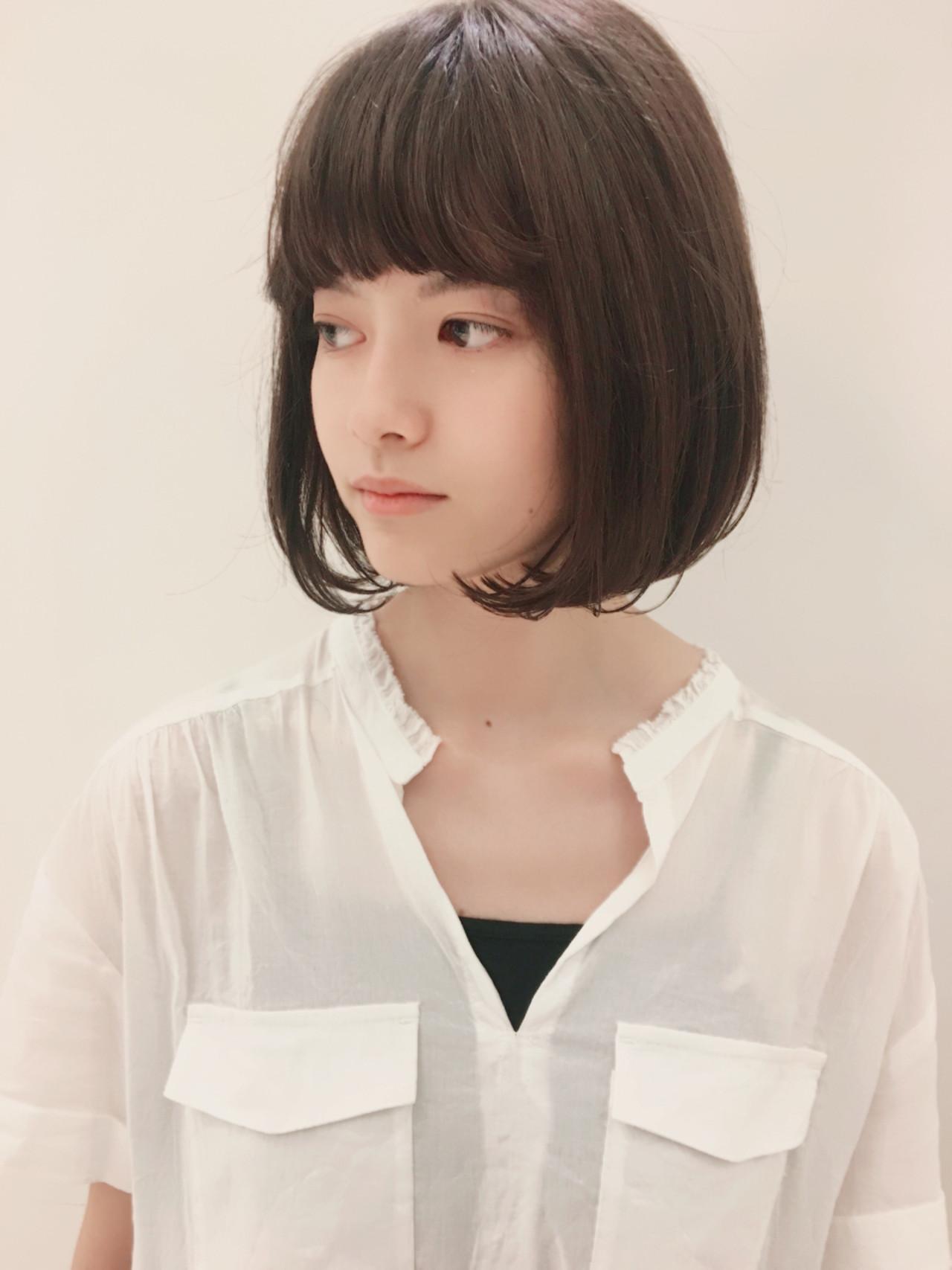 透明感 ワンカール ボブ フェミニン ヘアスタイルや髪型の写真・画像