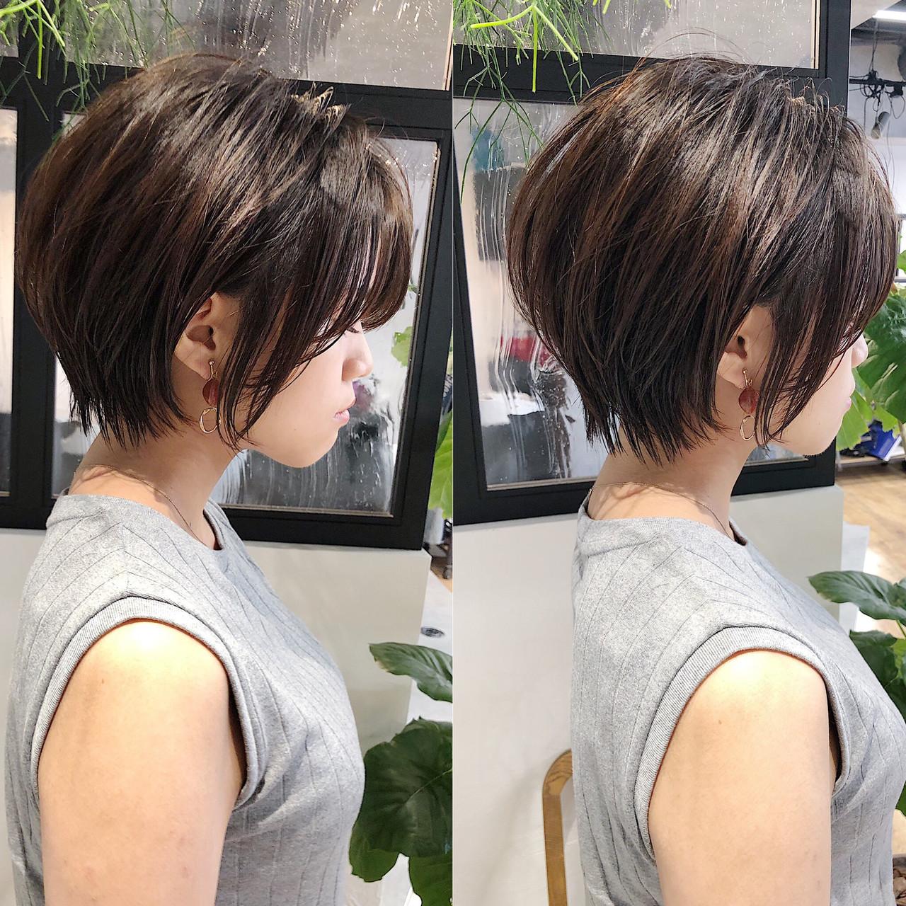 ストレート ショートボブ 縮毛矯正 ナチュラル ヘアスタイルや髪型の写真・画像