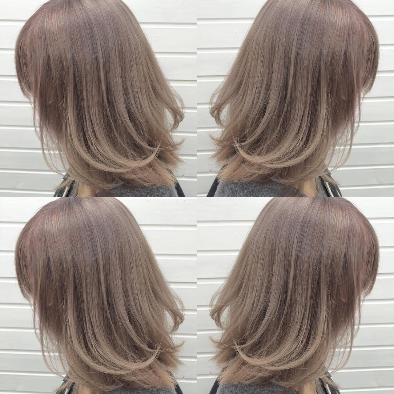 ミディアム ブリーチ ラベンダーアッシュ アッシュ ヘアスタイルや髪型の写真・画像