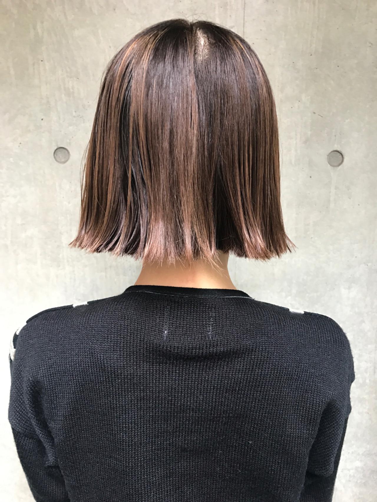 ボブ ハイライト ニュアンス モード ヘアスタイルや髪型の写真・画像
