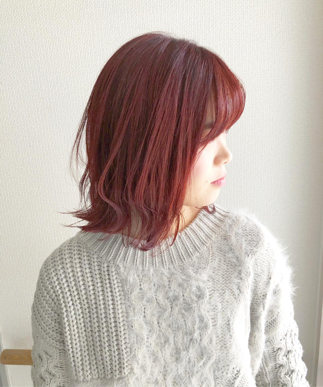 ナチュラル ピンクカラー ボブ ピンクパープル ヘアスタイルや髪型の写真・画像