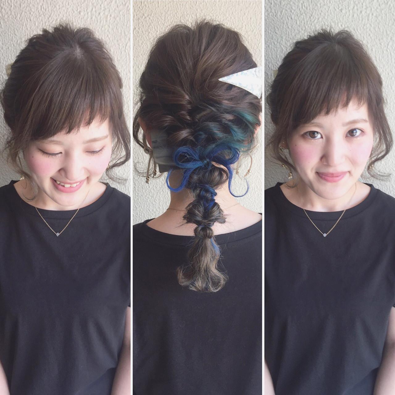 大人かわいい インナーカラー セミロング ヘアアレンジ ヘアスタイルや髪型の写真・画像
