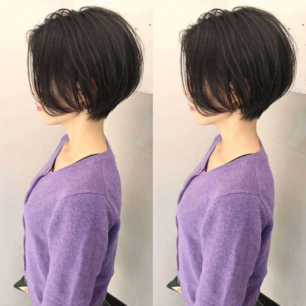 切りっぱなしボブ ショートボブ ミニボブ ナチュラル ヘアスタイルや髪型の写真・画像 | カネコミキヒロ / Neolive aim 横浜西口店