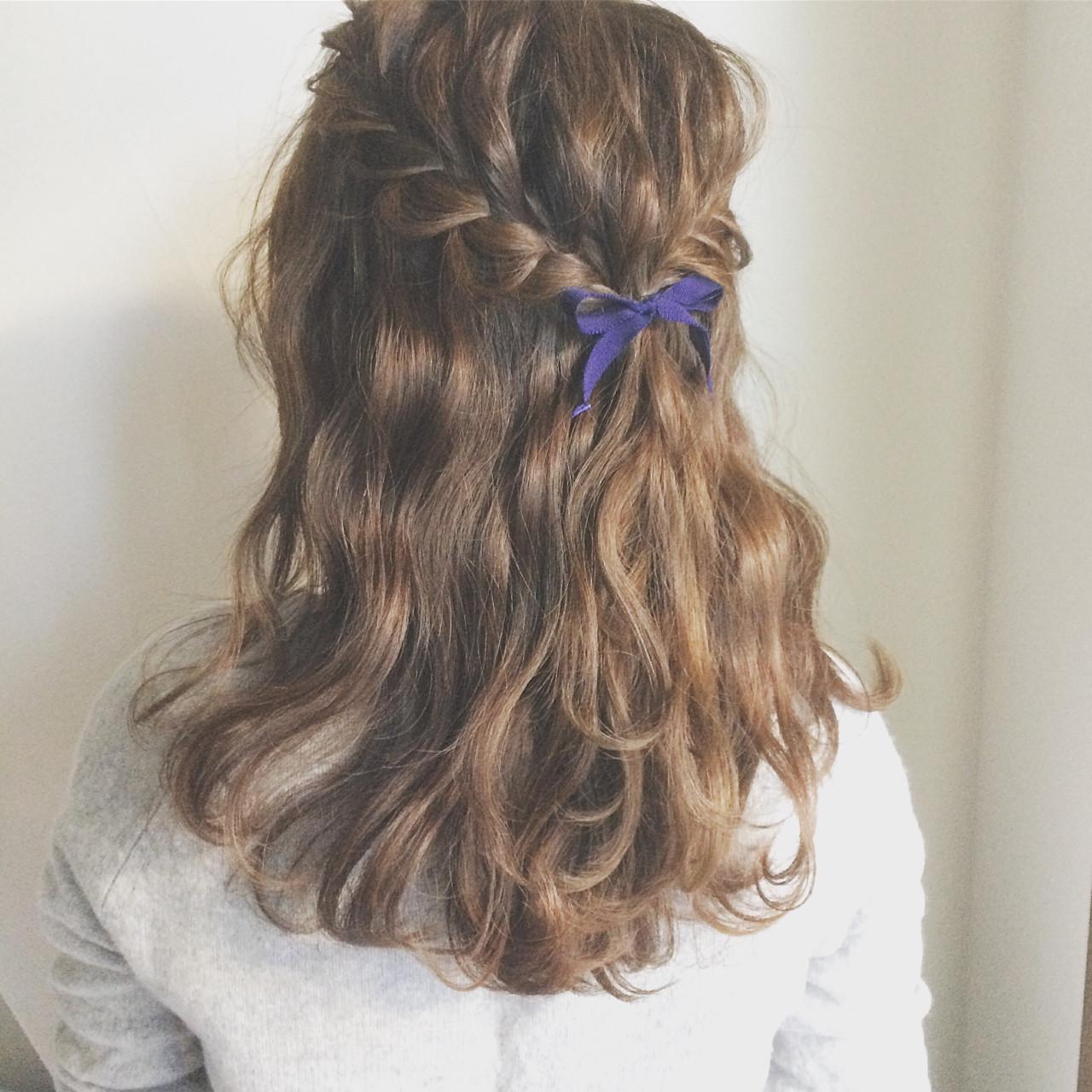 ショート 外国人風 ハーフアップ 簡単ヘアアレンジ ヘアスタイルや髪型の写真・画像