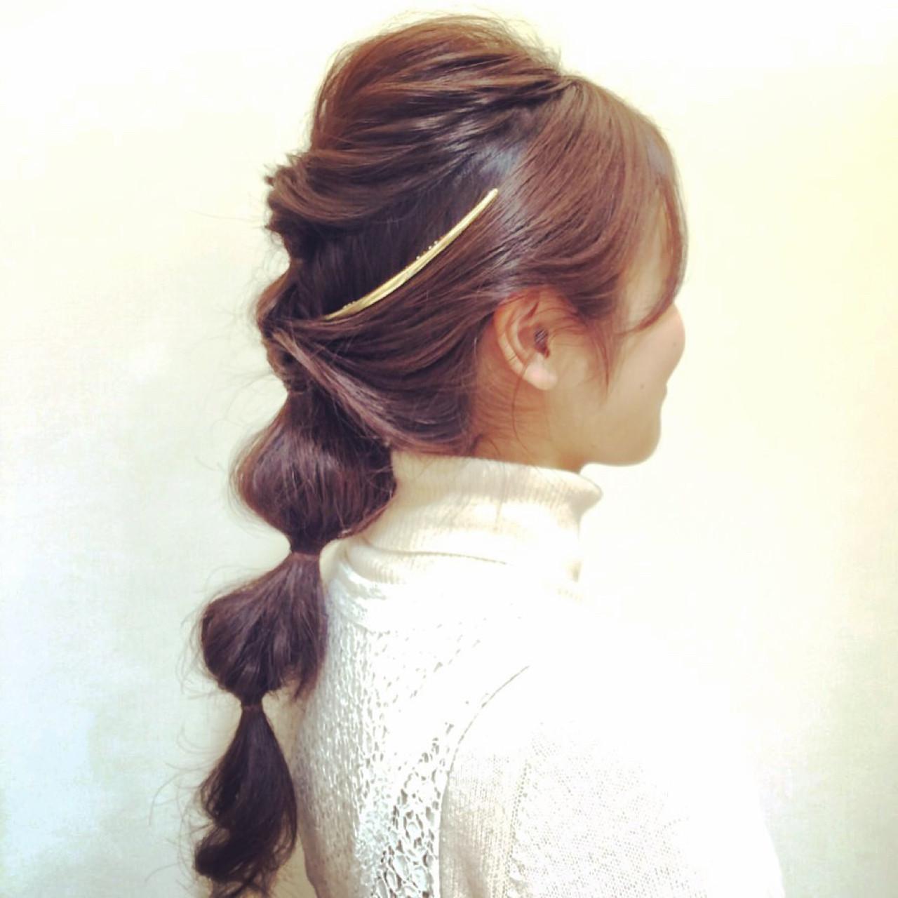 ヘアアレンジ ロング くるりんぱ ヘアアクセ ヘアスタイルや髪型の写真・画像