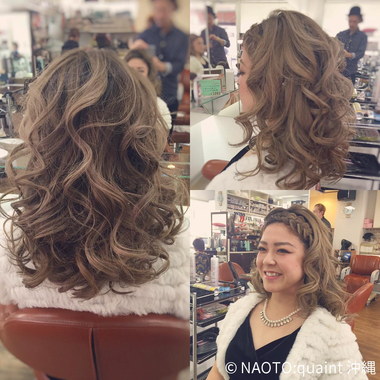 大人かわいい 巻き髪 ヘアアレンジ セミロング ヘアスタイルや髪型の写真・画像