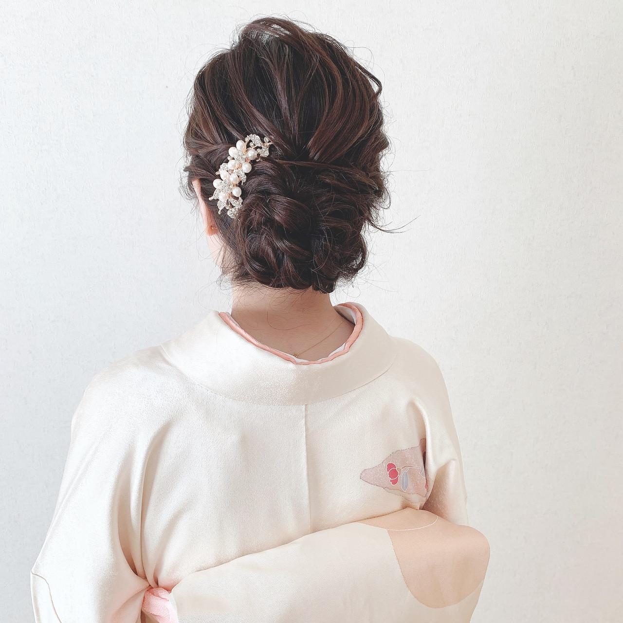 結婚式ヘアアレンジ エレガント お呼ばれ ヘアアレンジ ヘアスタイルや髪型の写真・画像 | Moriyama Mami / 福岡天神ヘアセット・着付け専門店【Three-keys】