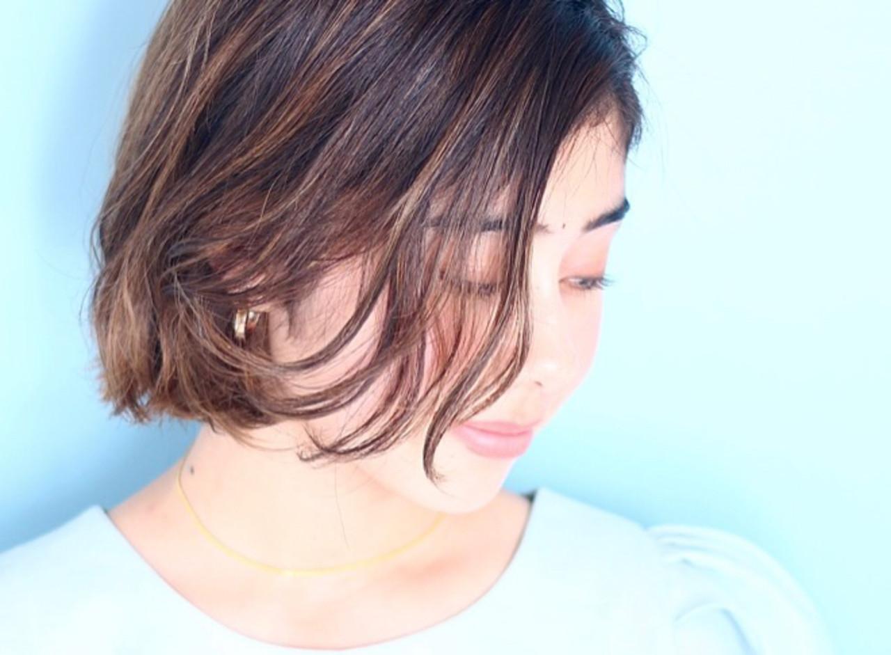 デート エレガント イルミナカラー ボブ ヘアスタイルや髪型の写真・画像