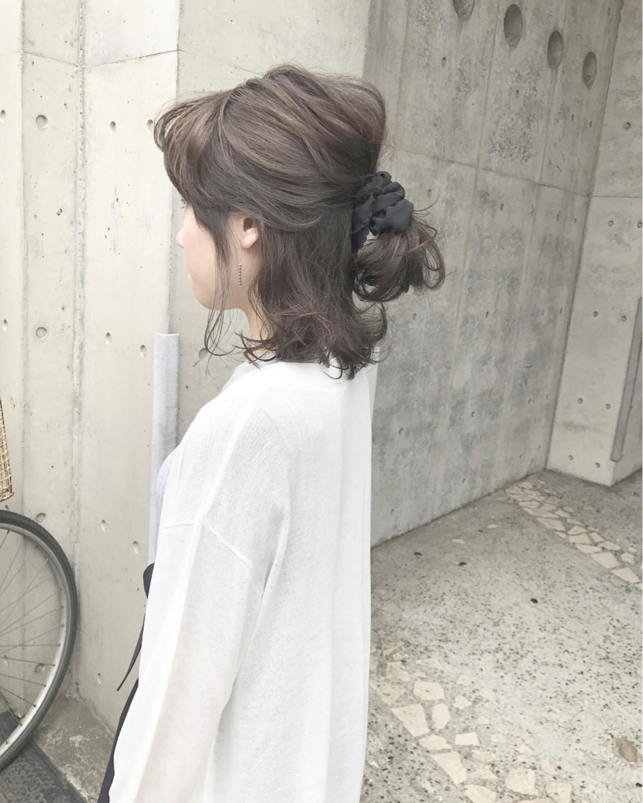 女子会 ポニーテール 簡単ヘアアレンジ ミディアム ヘアスタイルや髪型の写真・画像 | Wataru Maeda / cache cache