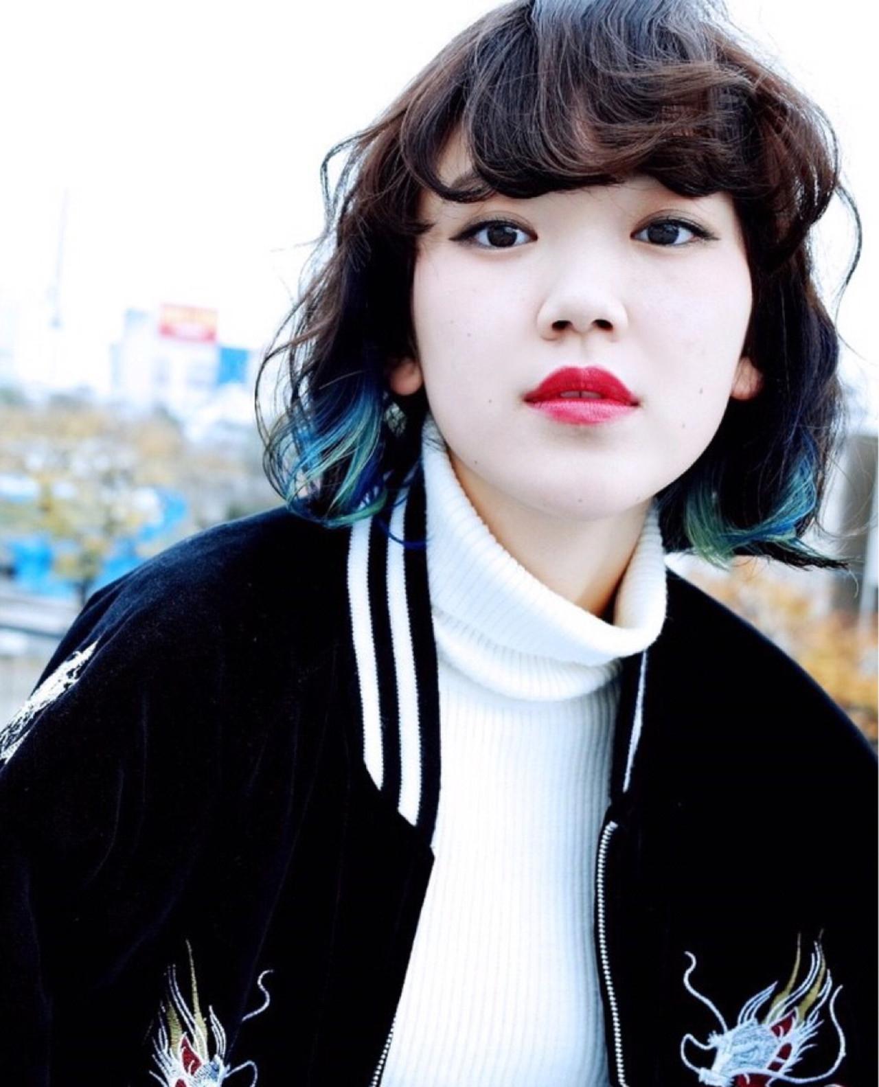グラデーションカラー インナーカラー 黒髪 ピュア ヘアスタイルや髪型の写真・画像 | Umi /