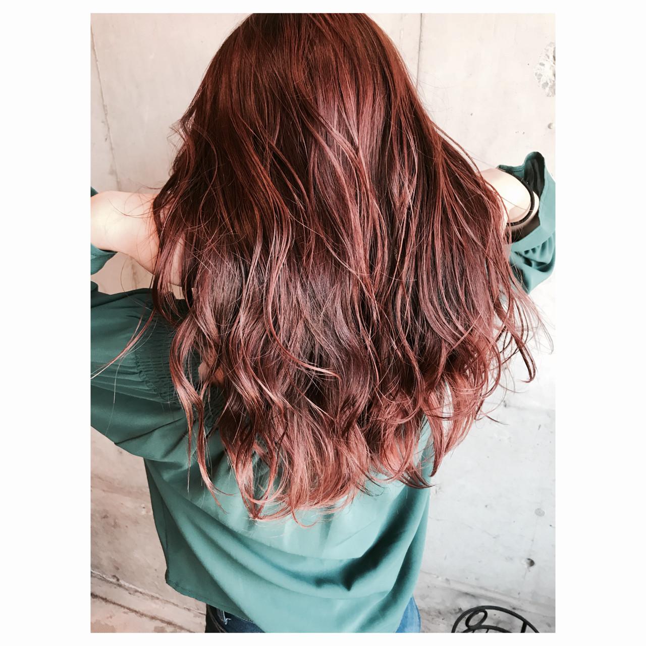 ピンク ウェットヘア 秋 カッパー ヘアスタイルや髪型の写真・画像