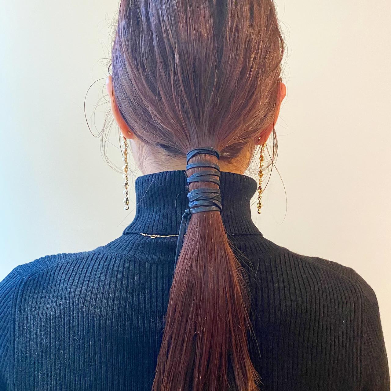 ポニーテールアレンジ ロング ヘアアレンジ セルフヘアアレンジ ヘアスタイルや髪型の写真・画像 | 添田美香 / ROVERSI