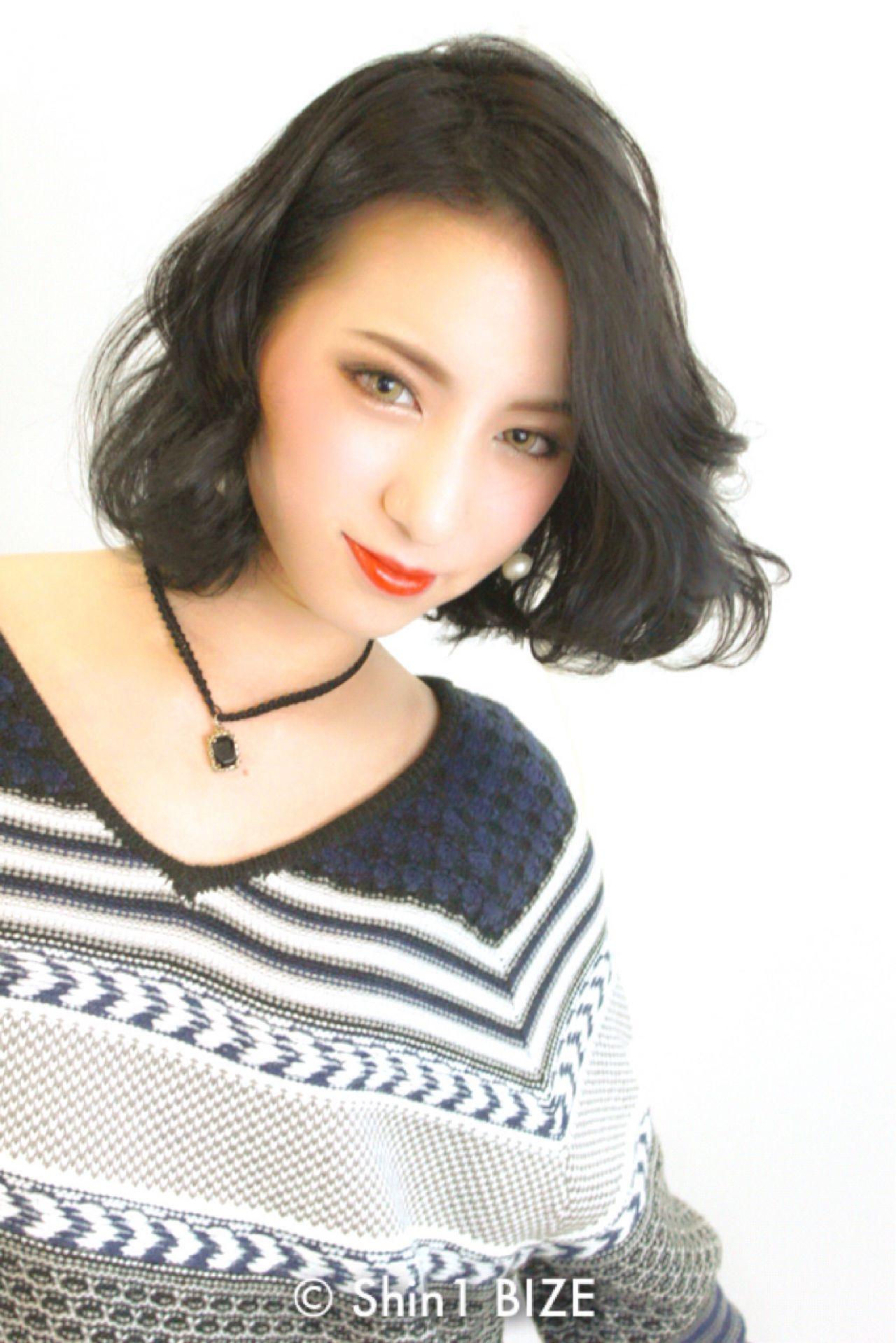 モード 黒髪 ショート ボブ ヘアスタイルや髪型の写真・画像