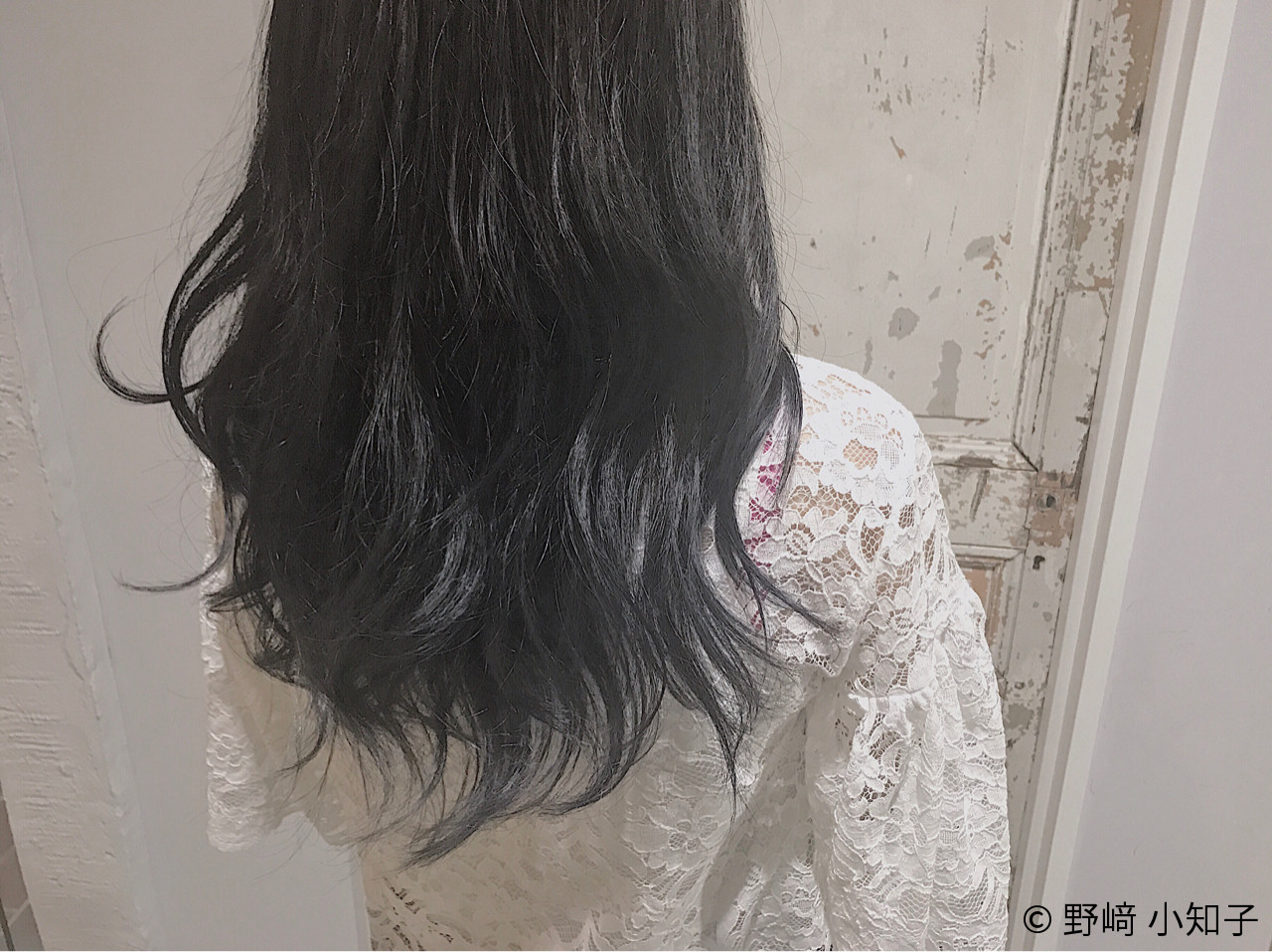外国人風 グラデーションカラー ブルーアッシュ フェミニン ヘアスタイルや髪型の写真・画像