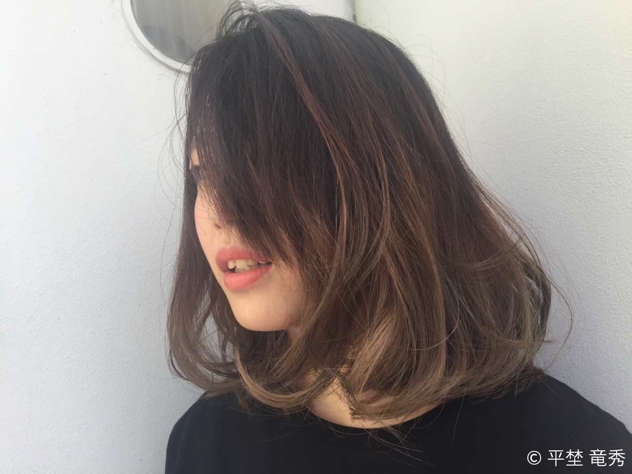 外国人風 グラデーションカラー パーマ ミディアム ヘアスタイルや髪型の写真・画像