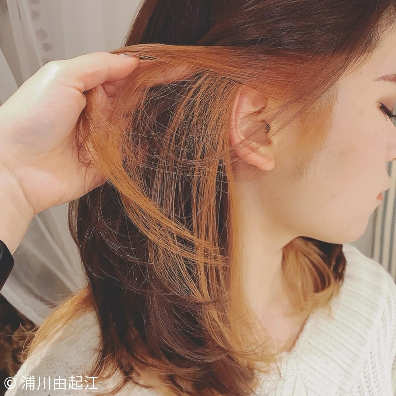 インナーカラー デート フェミニン 外国人風カラー ヘアスタイルや髪型の写真・画像