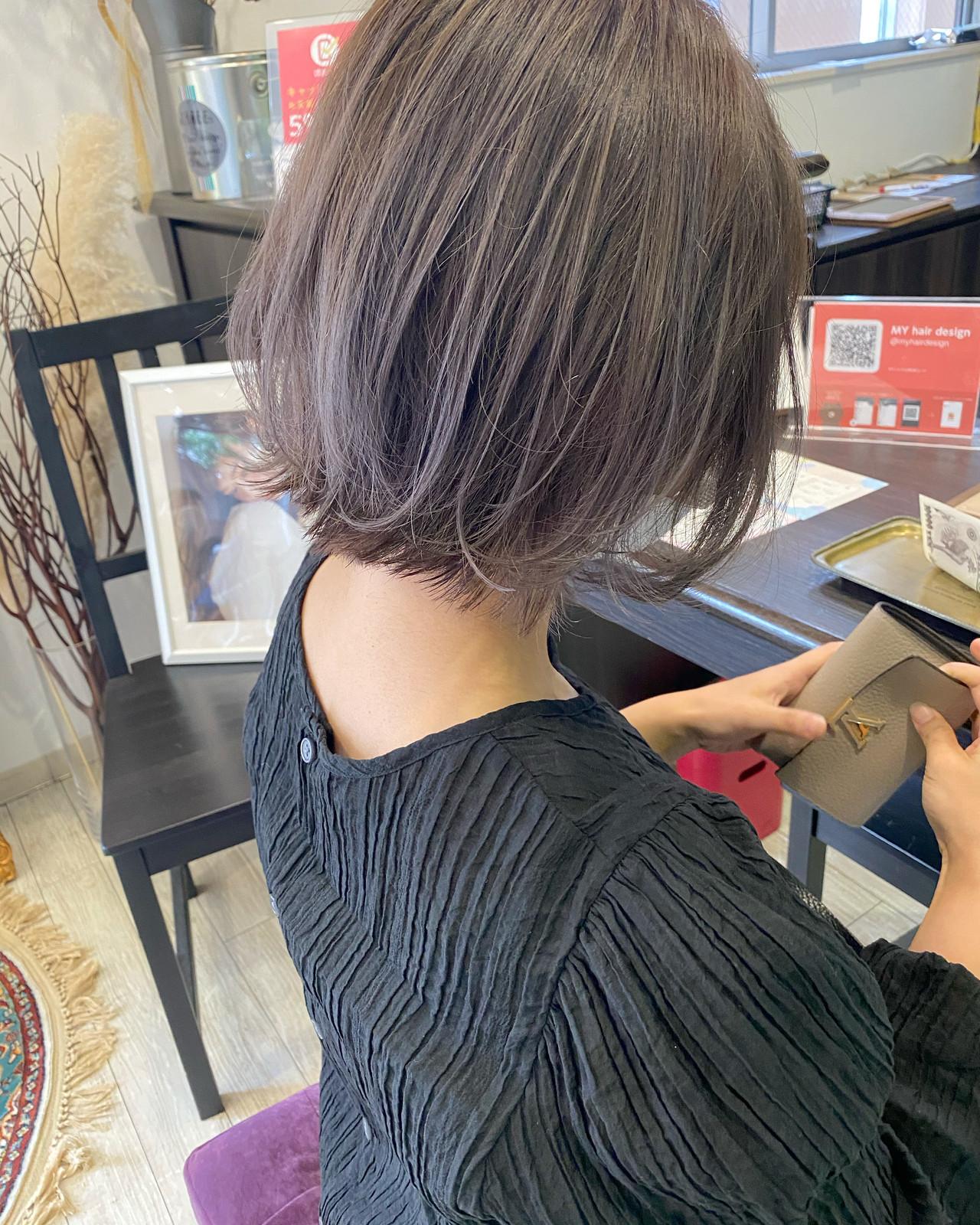 ラベンダーグレージュ ナチュラル ボブ ダブルカラー ヘアスタイルや髪型の写真・画像 | 中内田沙織 / MY hair design