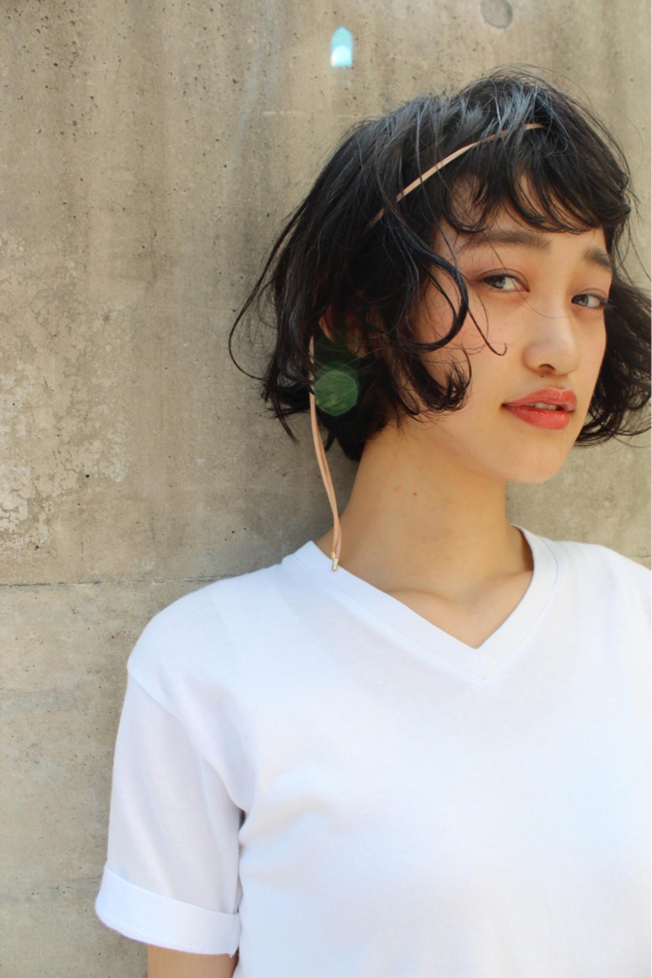 黒髪 くせ毛風 ボブ ヘアアレンジ ヘアスタイルや髪型の写真・画像 | 永井 美菜子 bibito / bibito