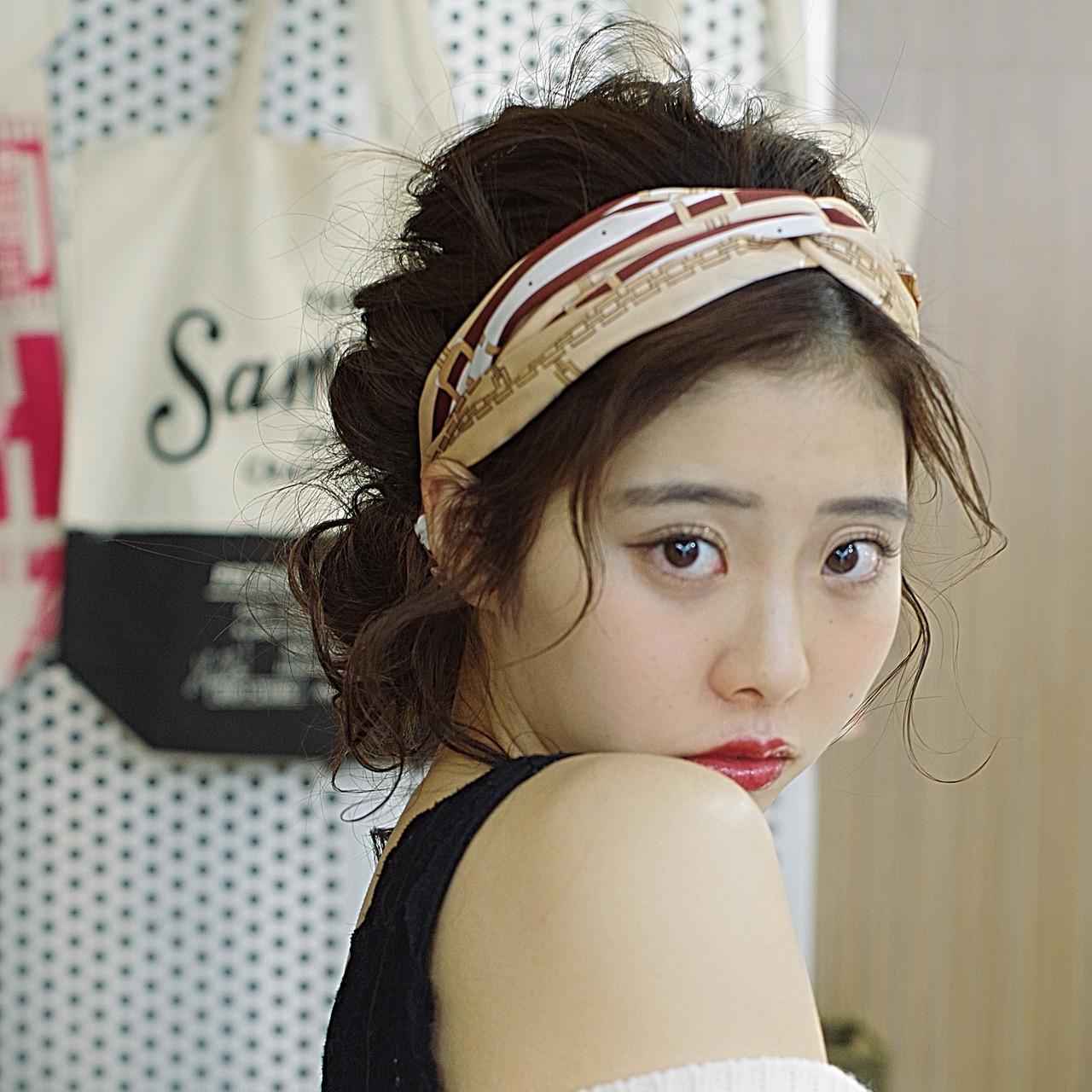 ヘアアレンジ セミロング 可愛い 簡単ヘアアレンジ ヘアスタイルや髪型の写真・画像 | ken / sora