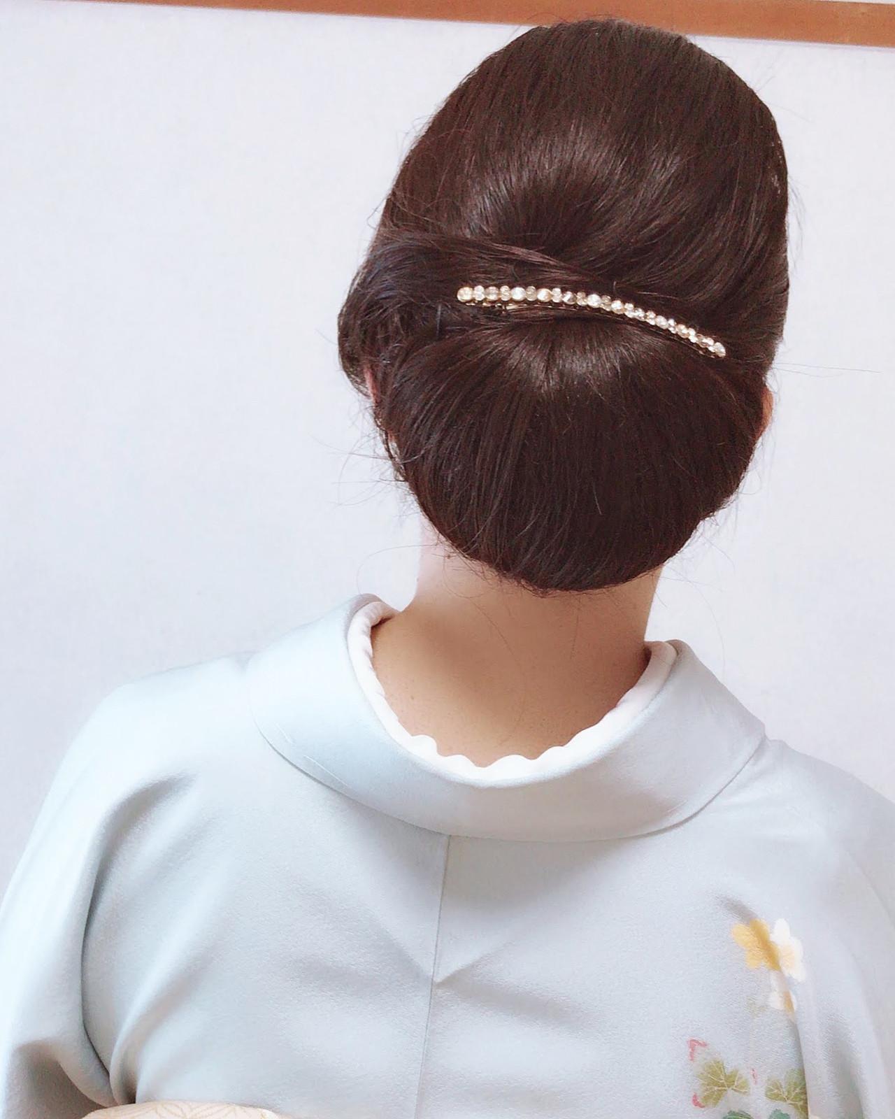 結婚式 着物 黒髪 エレガント ヘアスタイルや髪型の写真・画像