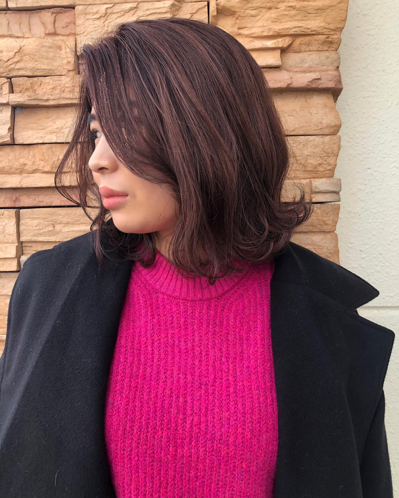 切りっぱなしボブ ボブ ピンクラベンダー ピンクパープル ヘアスタイルや髪型の写真・画像 | 佐藤タカヒロ / Gritter