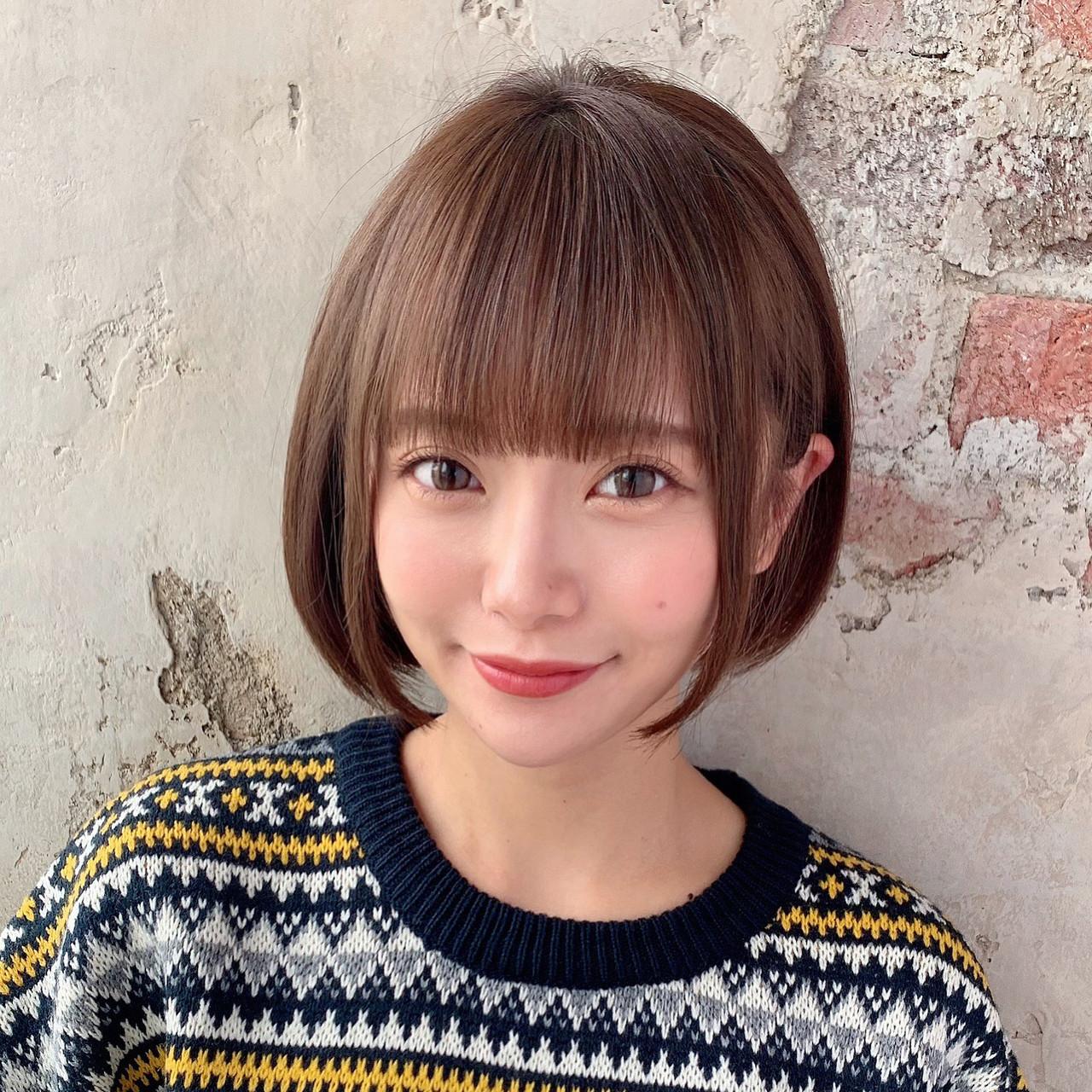 小顔ヘア ショート ミニボブ 似合わせカット ヘアスタイルや髪型の写真・画像
