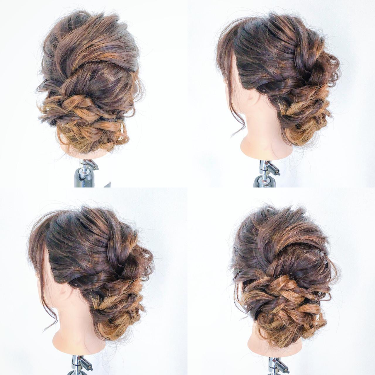 編み込み セミロング ルーズ 結婚式 ヘアスタイルや髪型の写真・画像 | 美容師HIRO/Amoute代表 / Amoute/アムティ