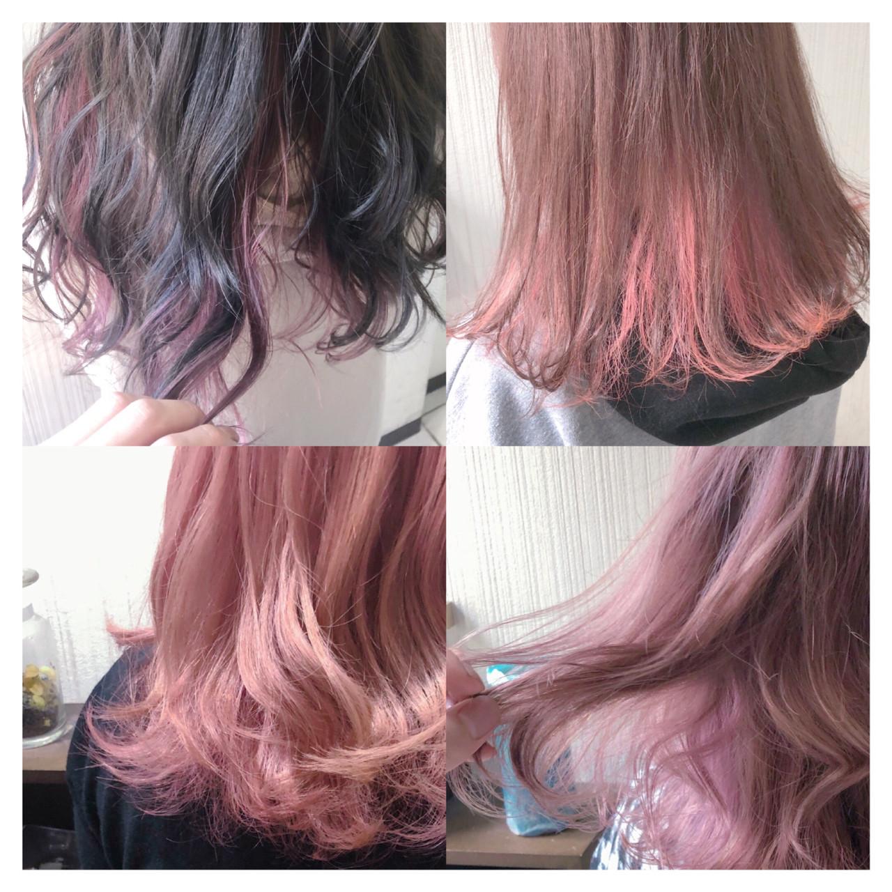ピンク セミロング アンニュイほつれヘア 簡単ヘアアレンジ ヘアスタイルや髪型の写真・画像