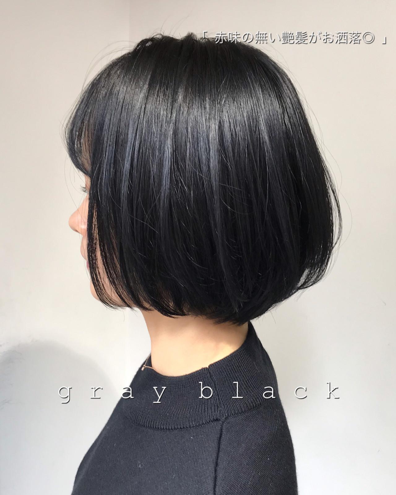 ブルーブラック 暗髪 グレージュ アッシュグレージュ ヘアスタイルや髪型の写真・画像