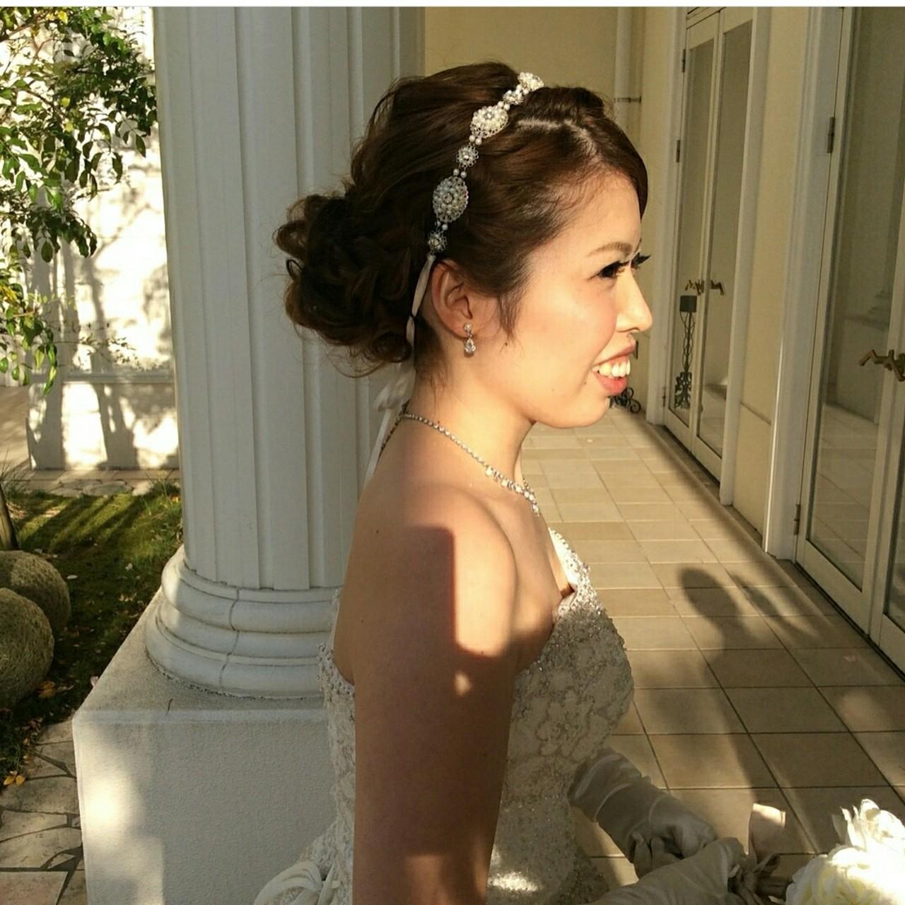 ヘアアレンジ 花嫁 セミロング 結婚式 ヘアスタイルや髪型の写真・画像