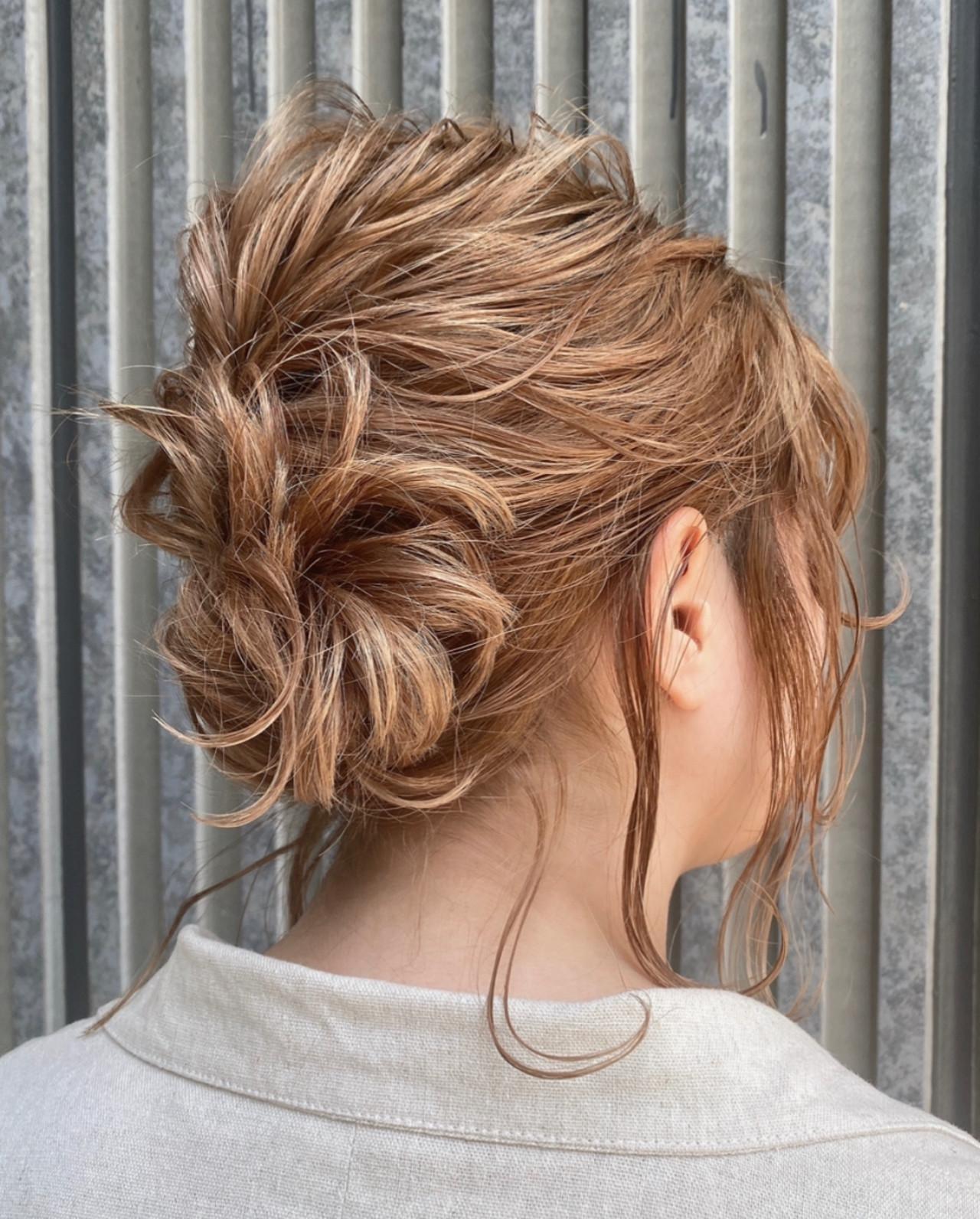 フェミニン 簡単ヘアアレンジ ボブ ショートヘア ヘアスタイルや髪型の写真・画像