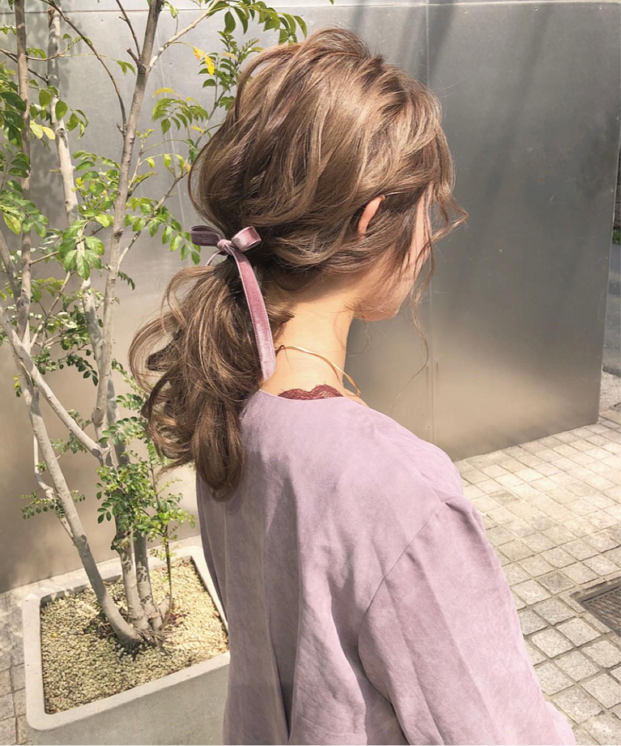 ポニーテール ロング 簡単ヘアアレンジ デート ヘアスタイルや髪型の写真・画像
