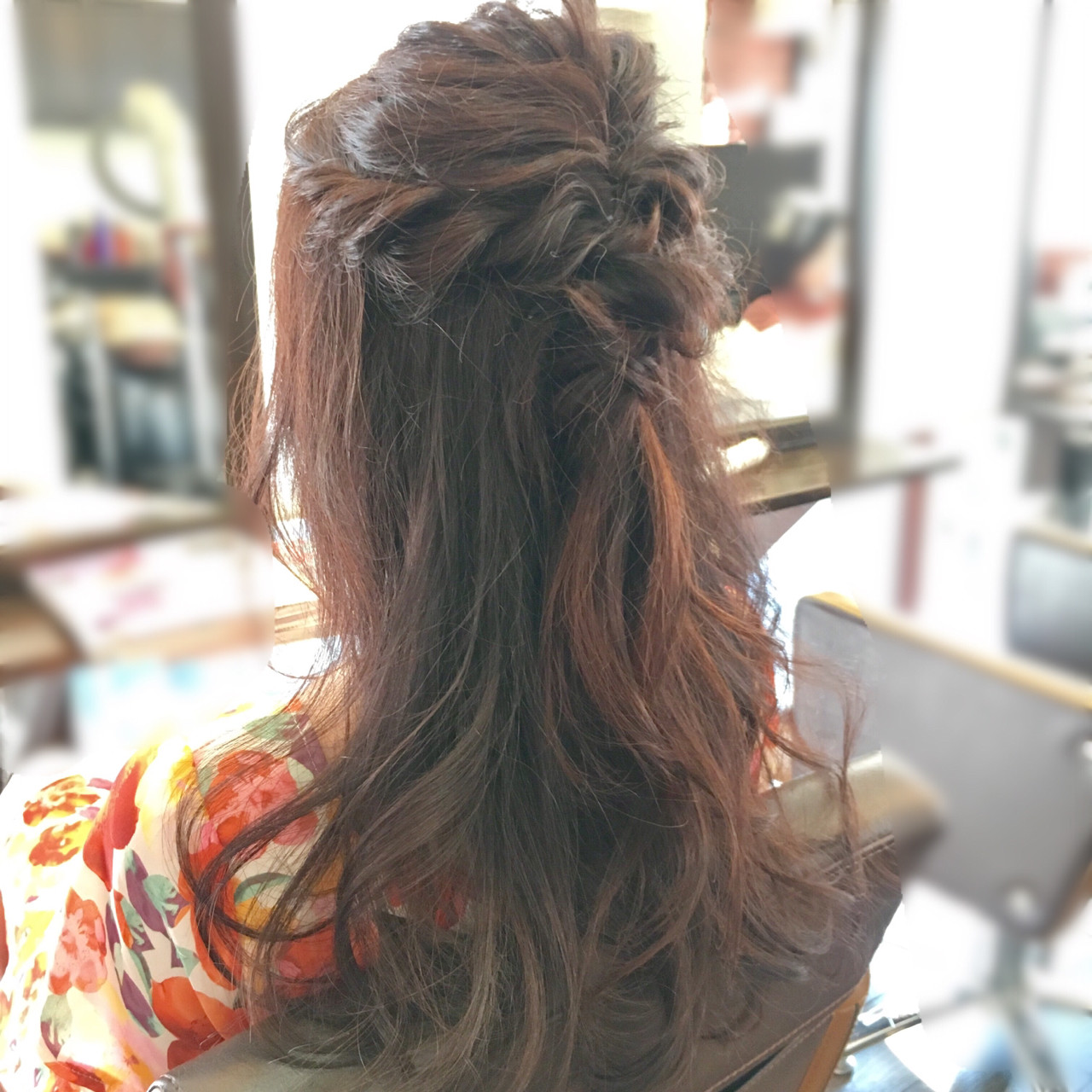 くるりんぱ 女子会 ヘアアレンジ ハーフアップ ヘアスタイルや髪型の写真・画像