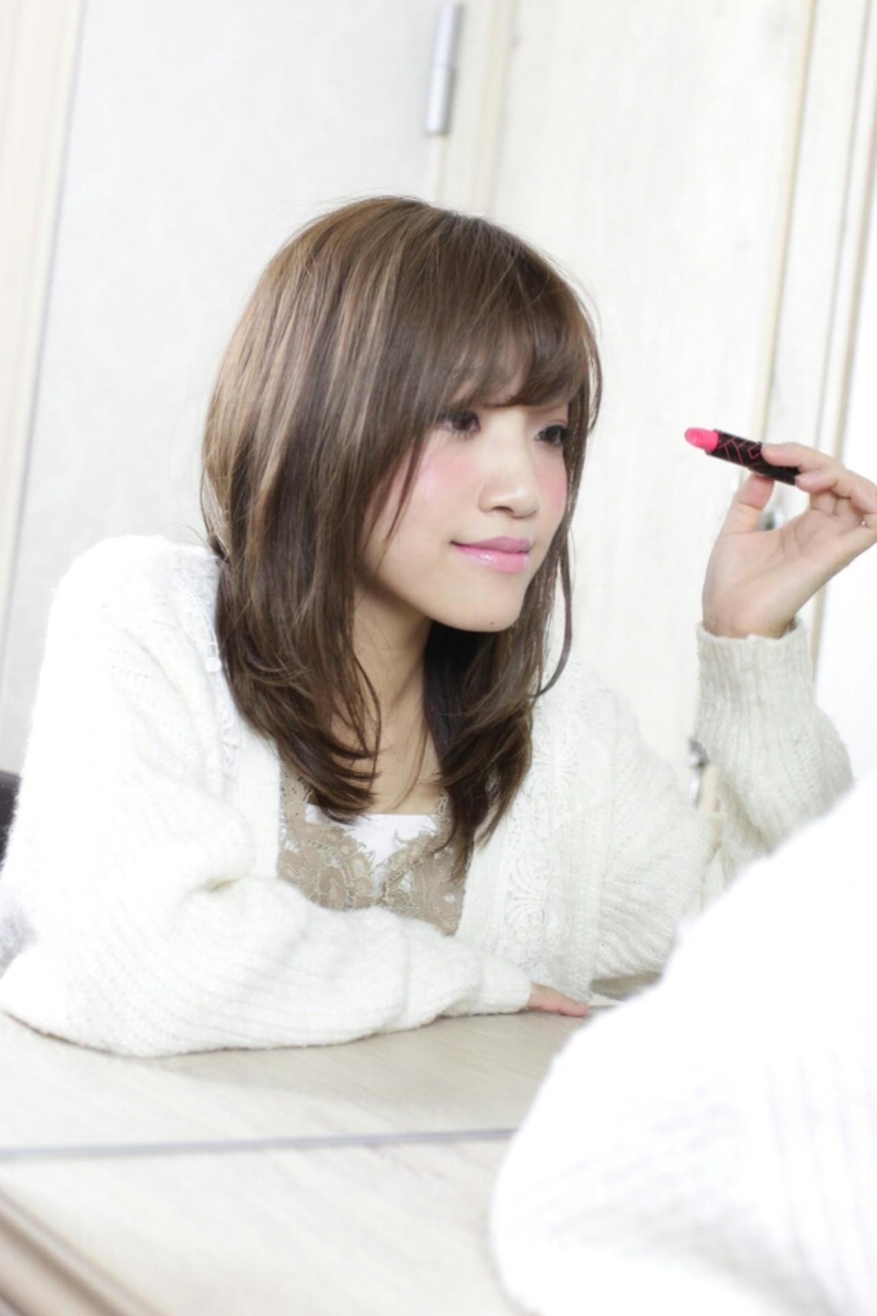 ピュア 大人かわいい セミロング フェミニン ヘアスタイルや髪型の写真・画像