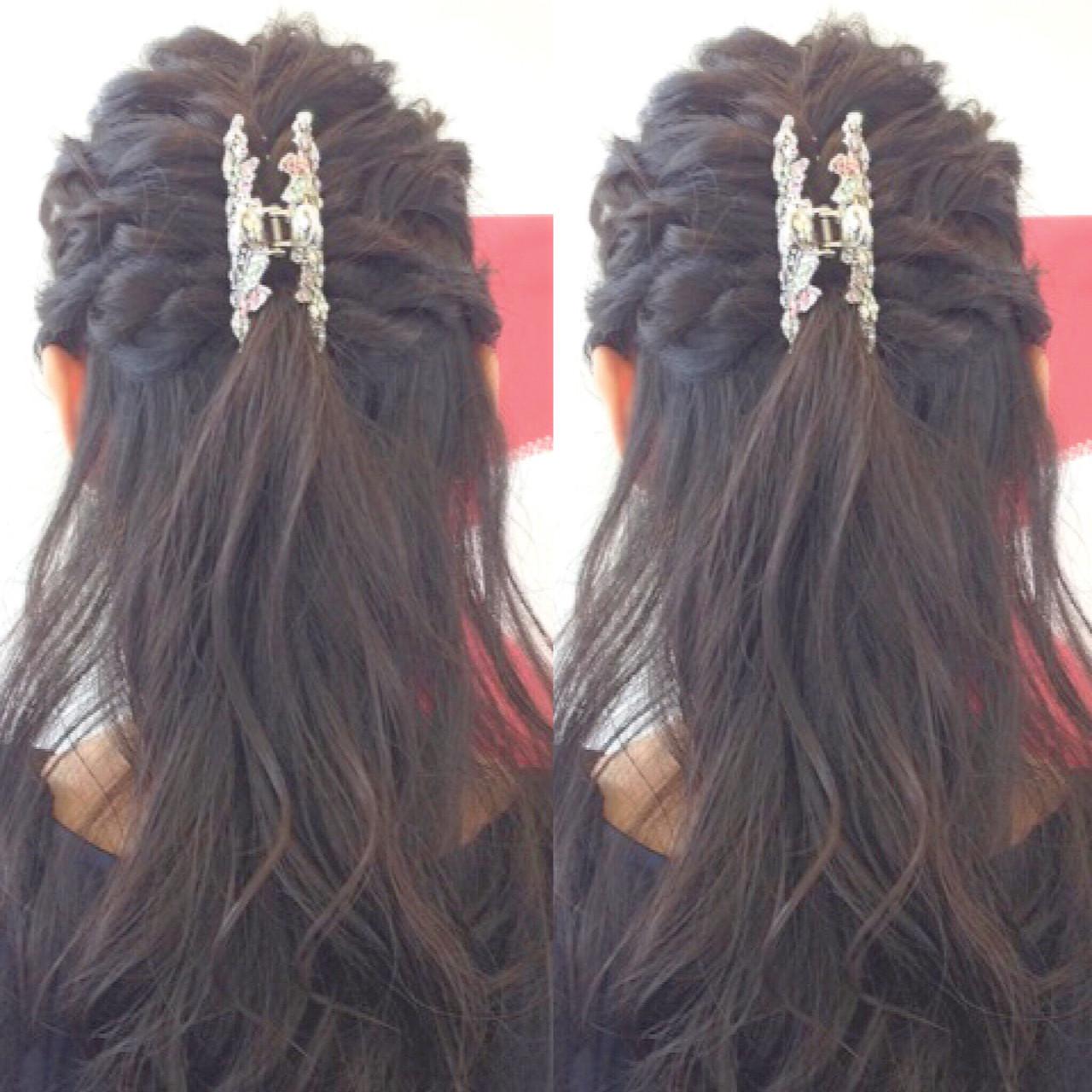 ヘアアレンジ 結婚式 ハーフアップ 二次会 ヘアスタイルや髪型の写真・画像 | ヤマナカサトル / DIOR of Hair