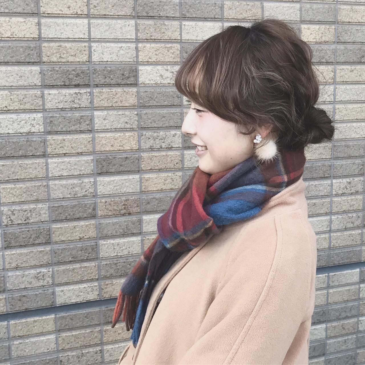 簡単ヘアアレンジ セミロング アッシュ ショート ヘアスタイルや髪型の写真・画像