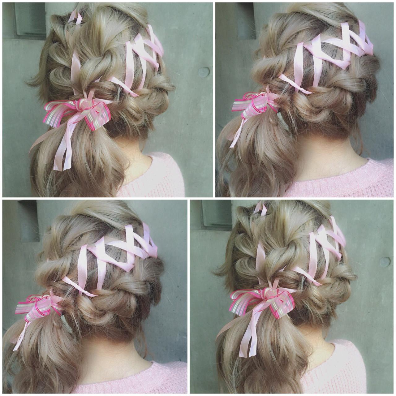 ミディアム 簡単ヘアアレンジ ヘアアレンジ ハーフアップ ヘアスタイルや髪型の写真・画像