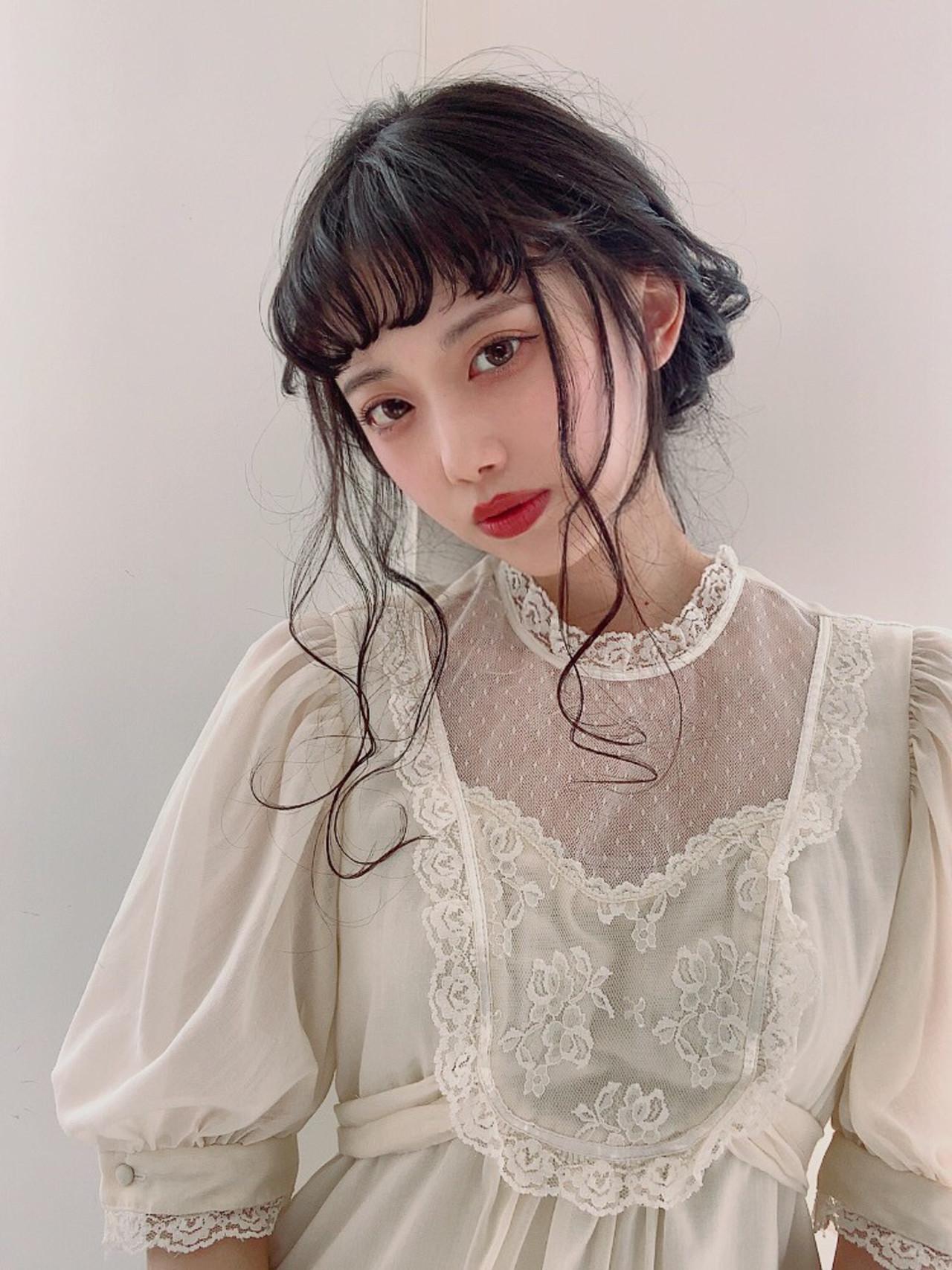 黒髪 フェミニン デート 簡単ヘアアレンジ ヘアスタイルや髪型の写真・画像