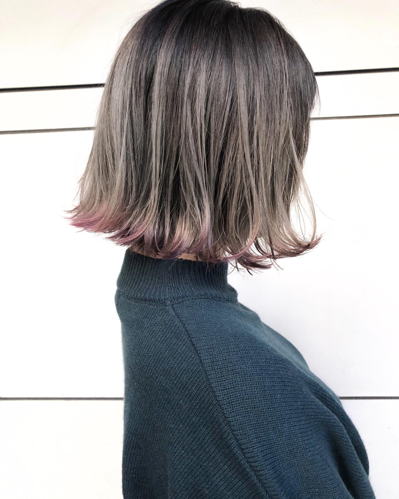 ボブ ロブ ハイライト ナチュラル ヘアスタイルや髪型の写真・画像 | スガ シュンスケ / Tierra (ティエラ)
